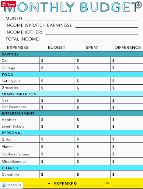 money management worksheets for adults