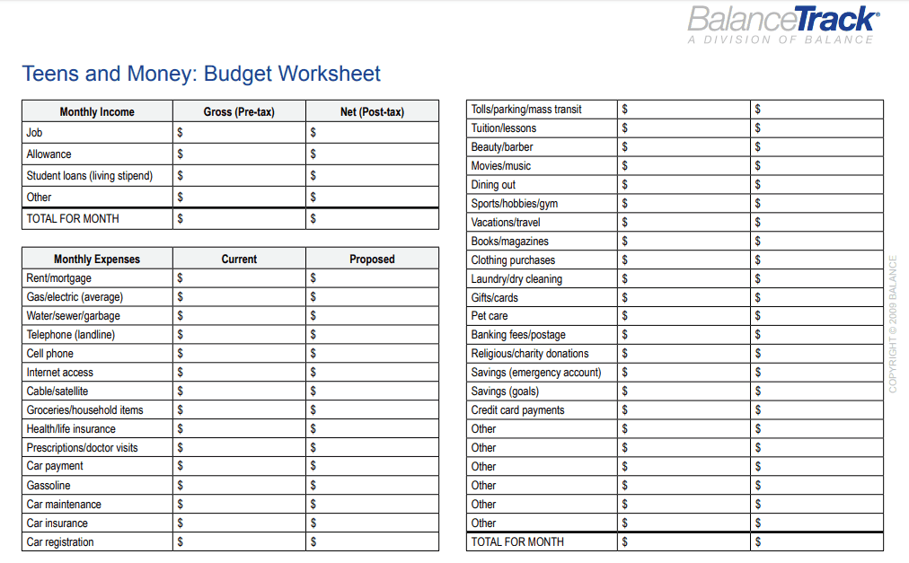 screenshot of teenager budget printable