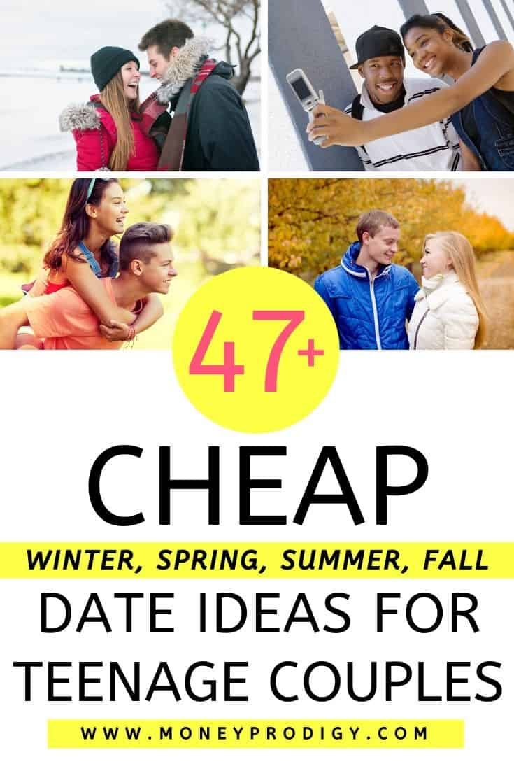 "teenage couples on dates each season, text overlay ""47 cheap date ideas for teenage couples, winter, fall, summer, spring"""