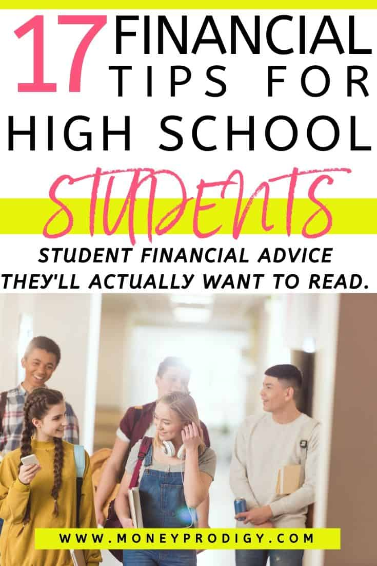 "group of high school students walking in hall, text overlay ""17 financial tips for high school students"""
