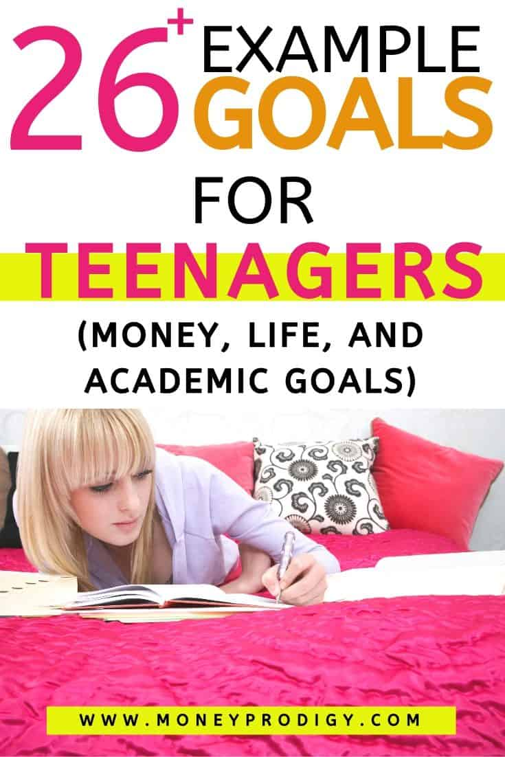 "teenager on pink bed goal setting, text overlay ""26 example goals for teenagers"""