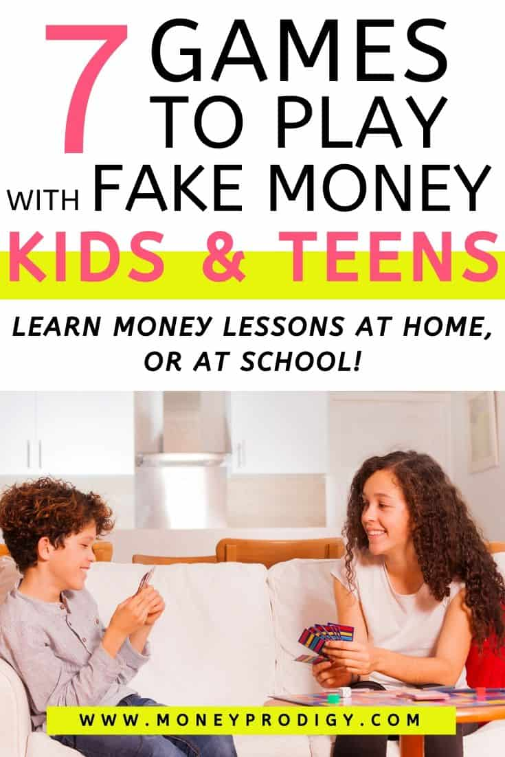 "two kids playing card game on couch, text overlay ""7 games to play with fake money kids and teens"""