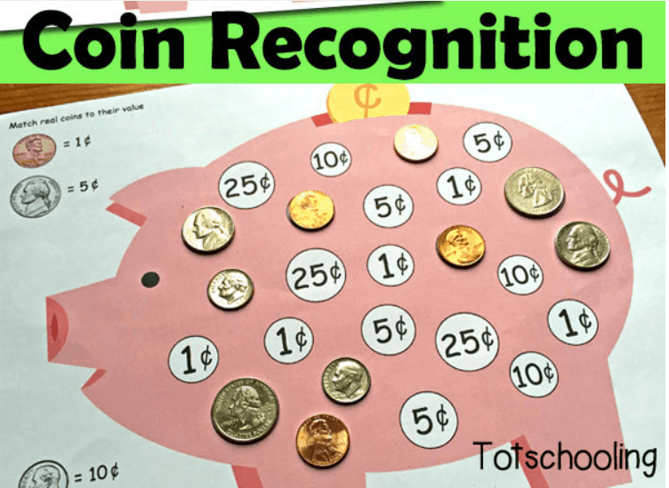 screenshot of coin recognition game