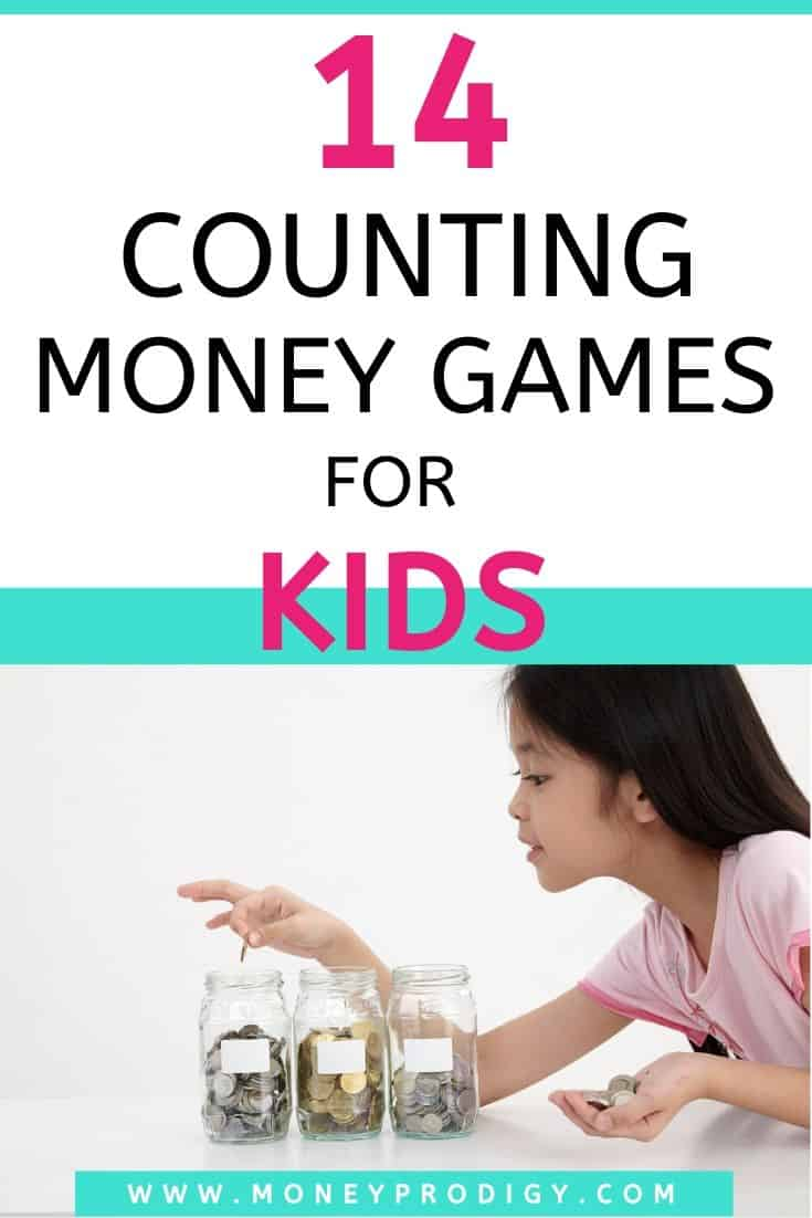 "young Asian girl counting money, text overlay ""14 counting money games for kids"""