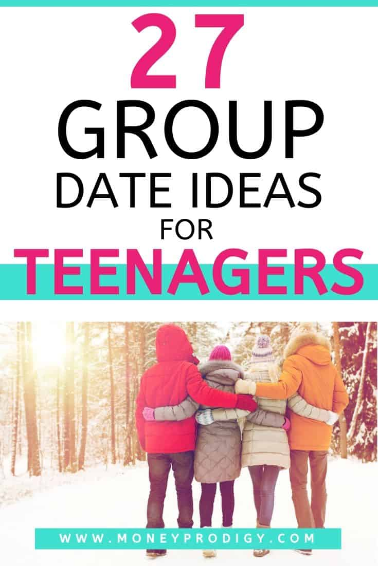 "group of teen couples in winter woods on double date, text overlay ""27 group date ideas for teenagers"""