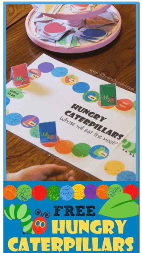 screenshot of hungry caterpillar money game printable for kids