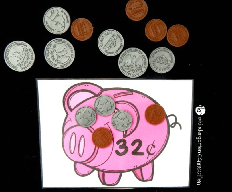 screenshot of piggy bank coin counting money game for kids