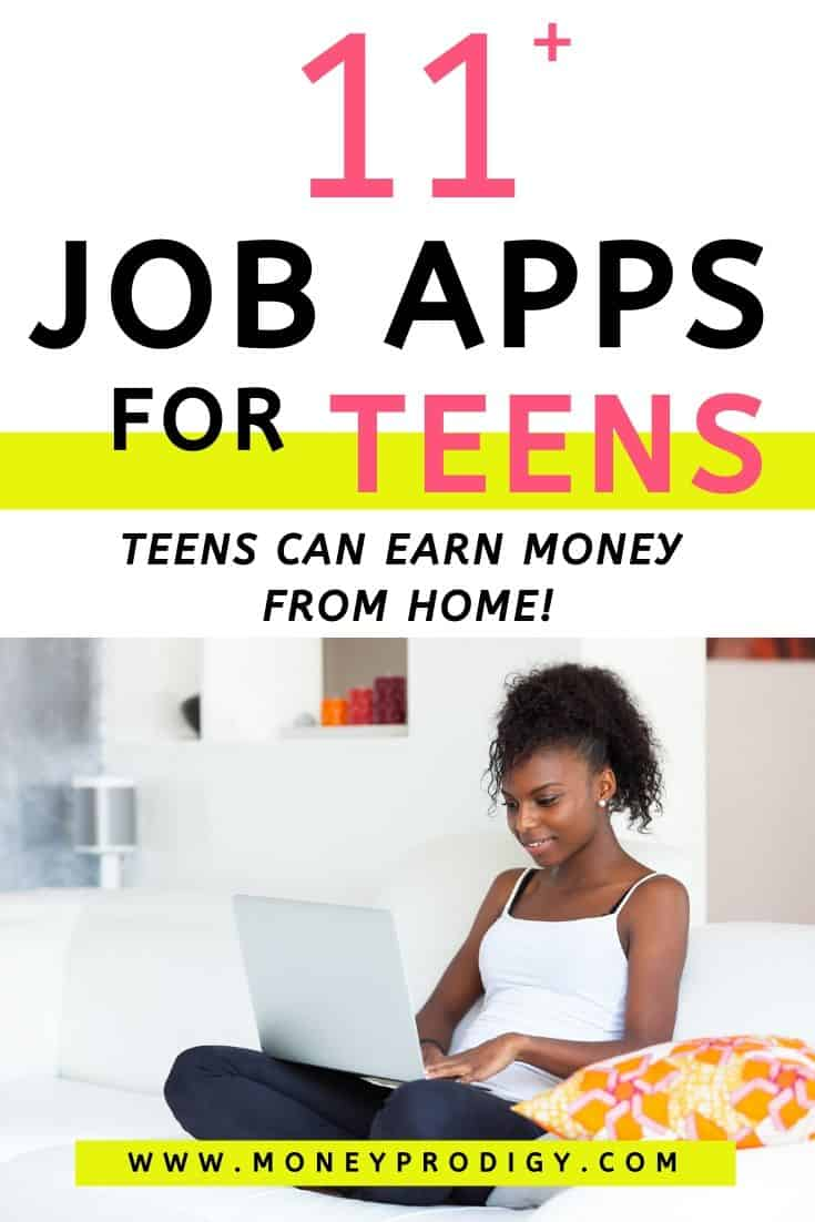 "teenage girl with laptop in lap on couch, text overlay, ""11 job apps for teens - teens can earn money from home!"""