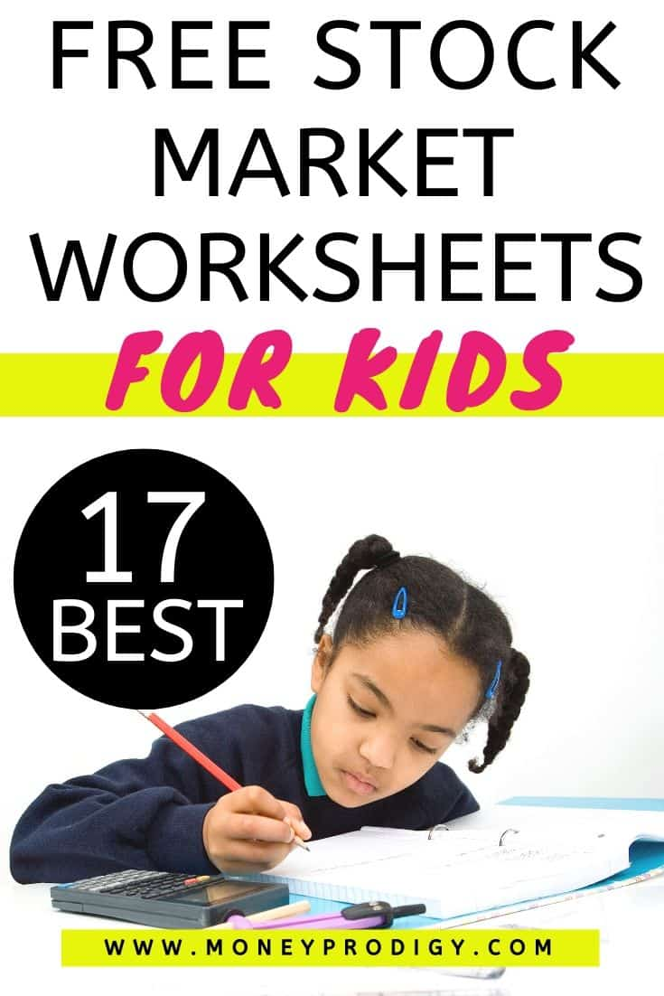 "young teen working on stock market lesson pdf at desk, text overlay ""free stock market worksheets for kids 17 best"""