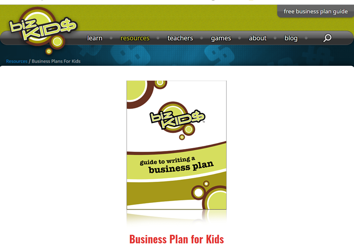 screenshot of bizKids business plan for kids