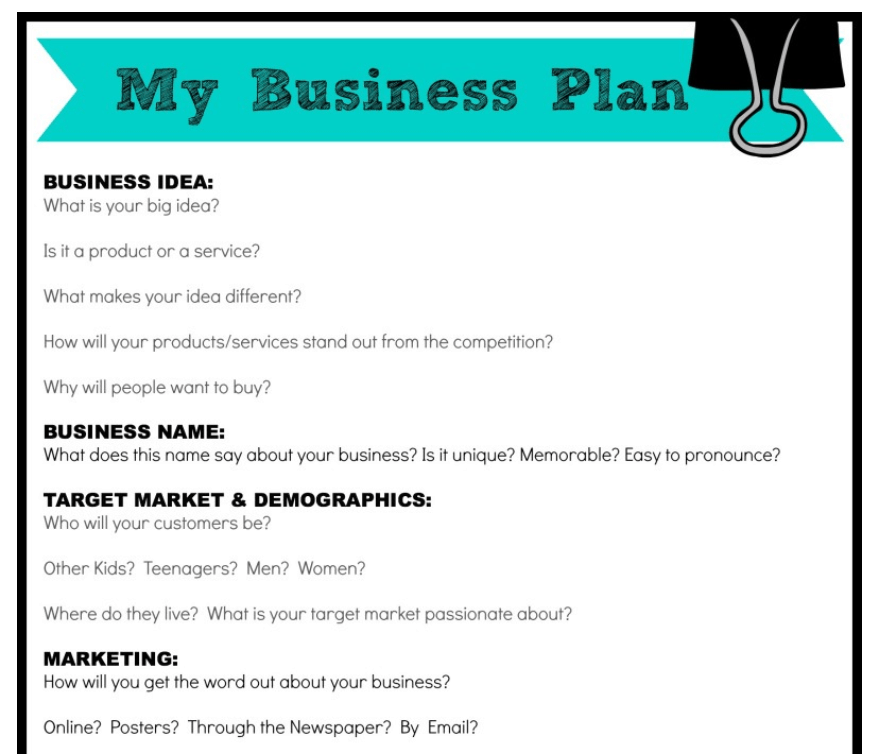 screenshot of my business plan for kids