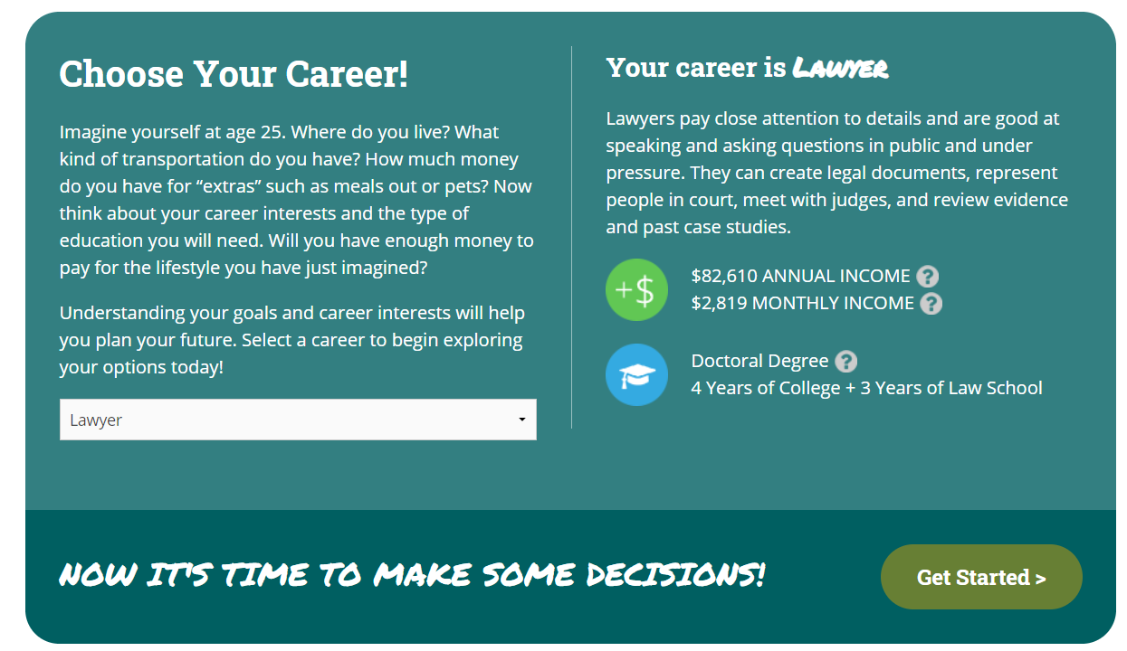 screenshot of Claim Your Future career exploration game for teenagers