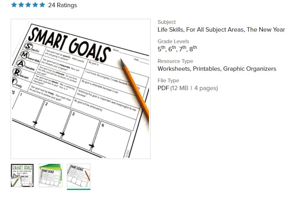 screenshot of smart goals setting worksheet for students on Teachers Pay Teachers