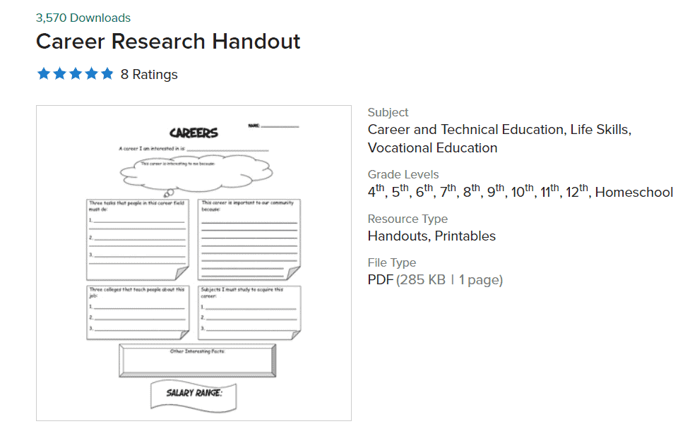 screenshot of one page career exploration worksheet for students