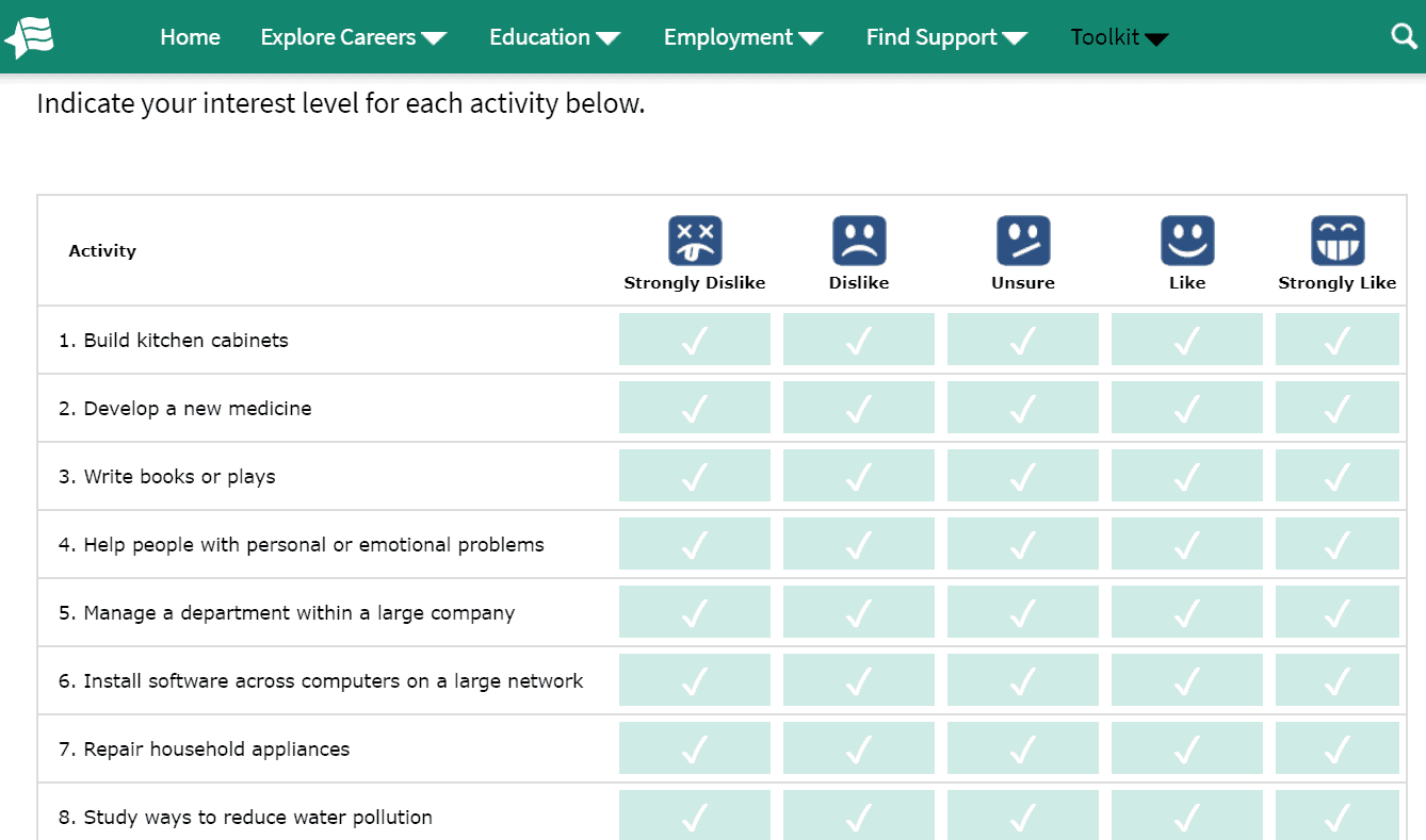 screenshot of Career One Stop's career assessment test for students