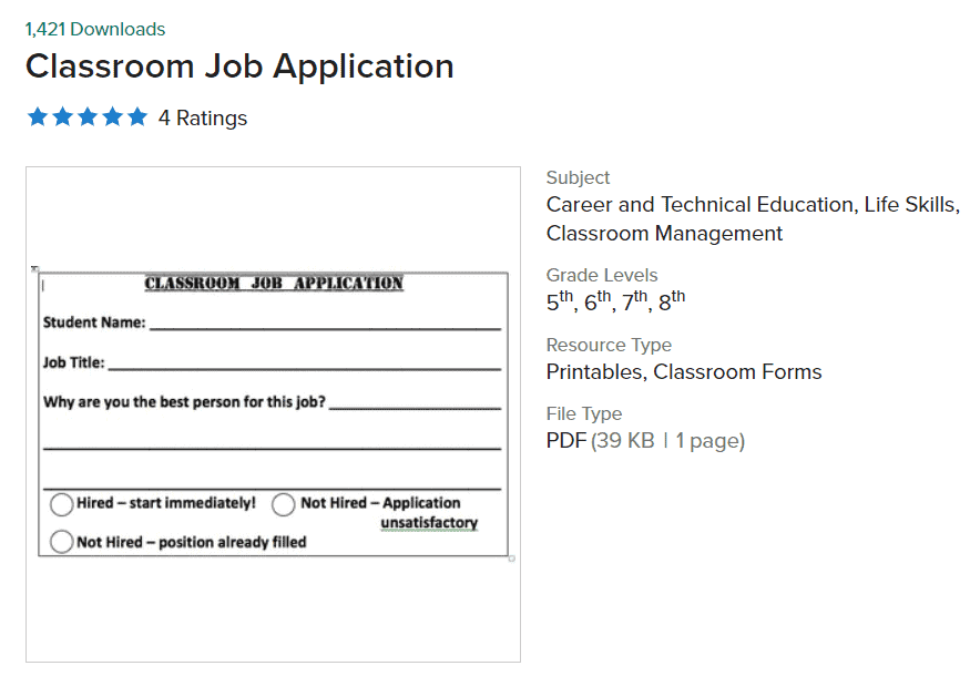 screenshot of classroom job application worksheet for students