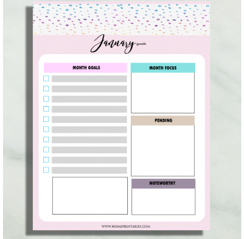screenshot of monthly goal setting PDF for teens