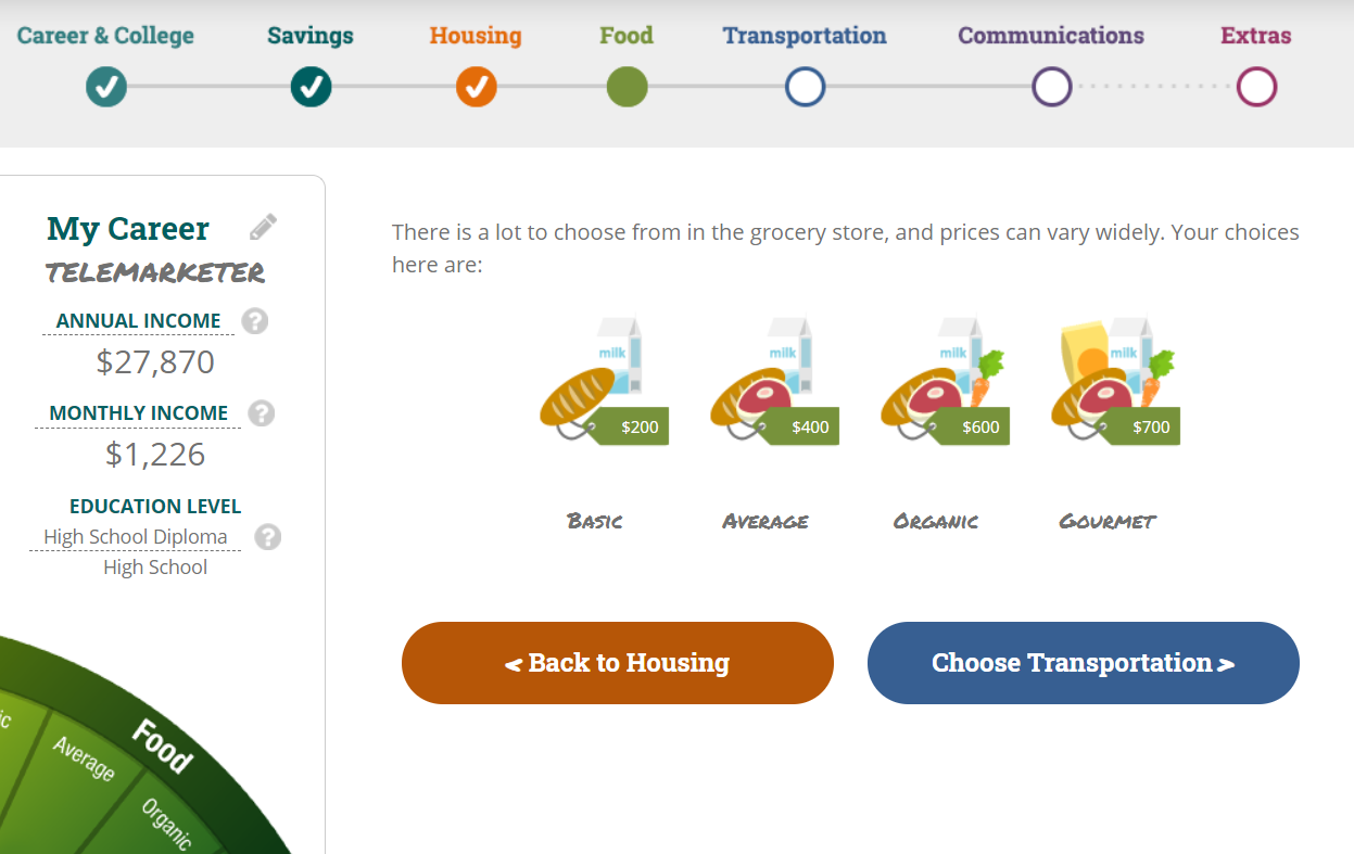 screenshot of claim your future personal finance literacy game for teens