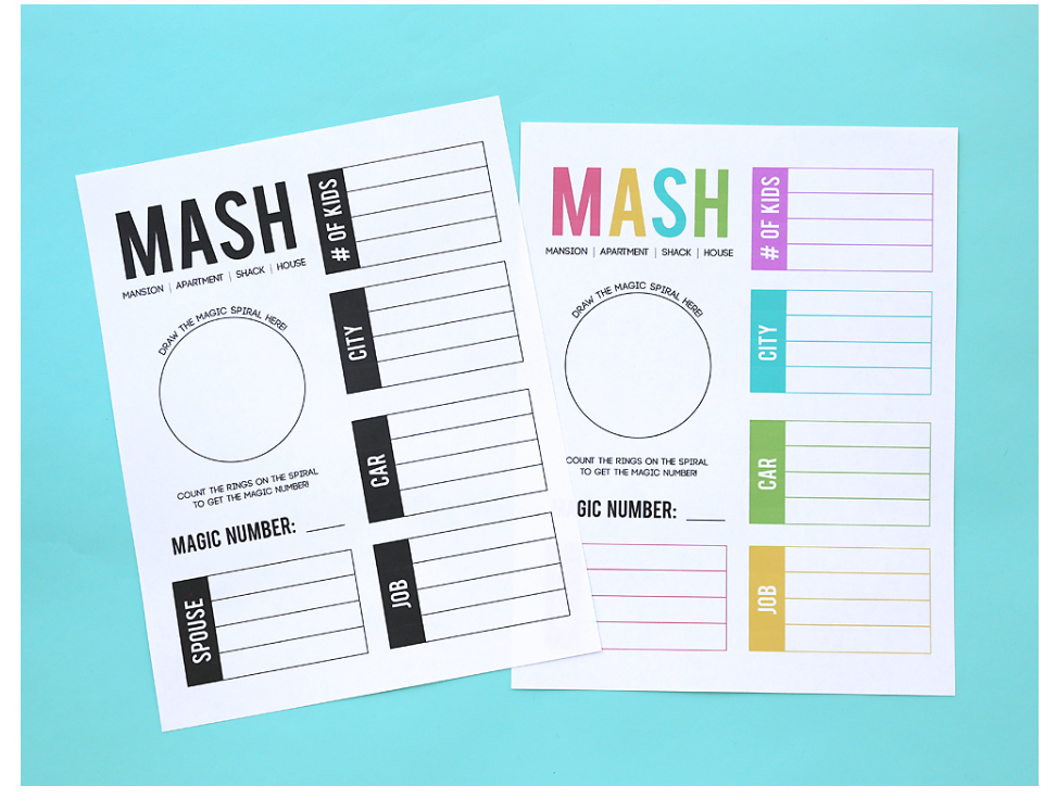 screenshot of MASH free printable activities for tweens