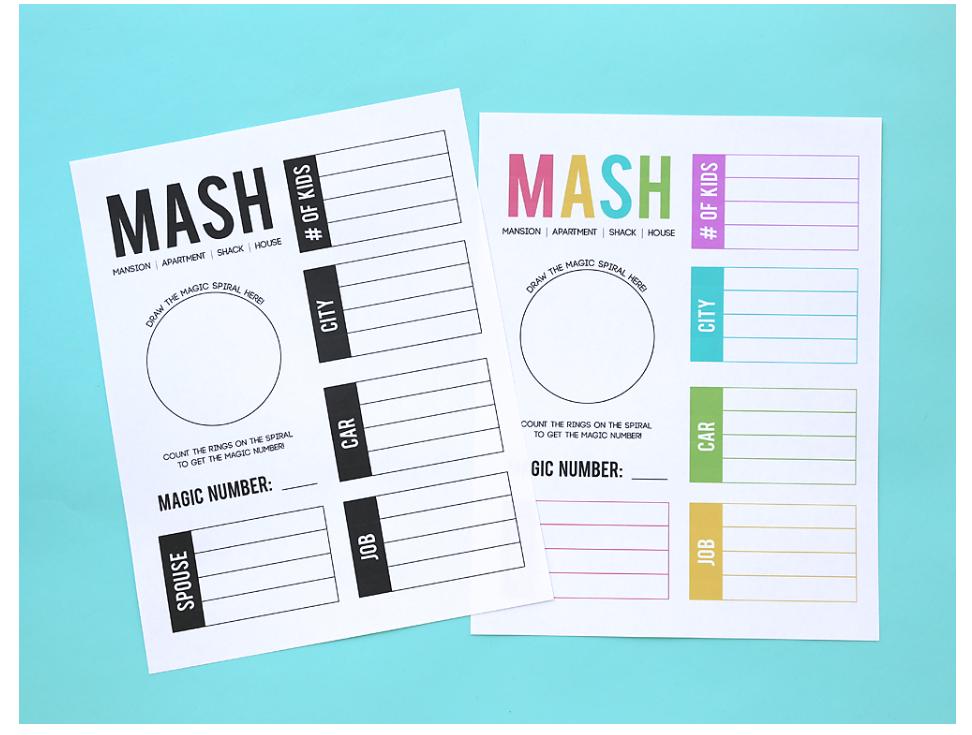 screenshot of MASH free printable activities for tweens