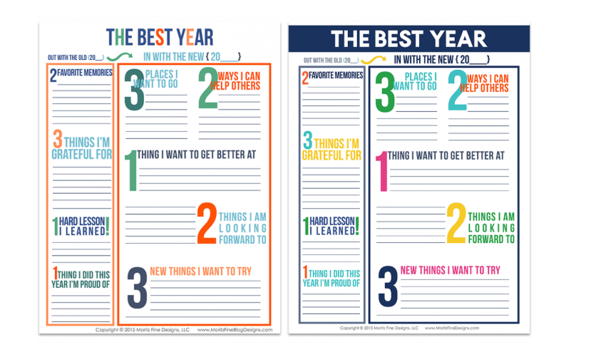 screenshot of yearly reflection goal setting worksheet for teens