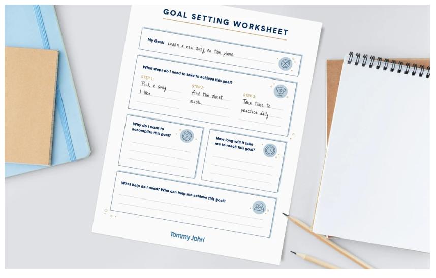 screenshot of one page, simple goal setting worksheet pdf