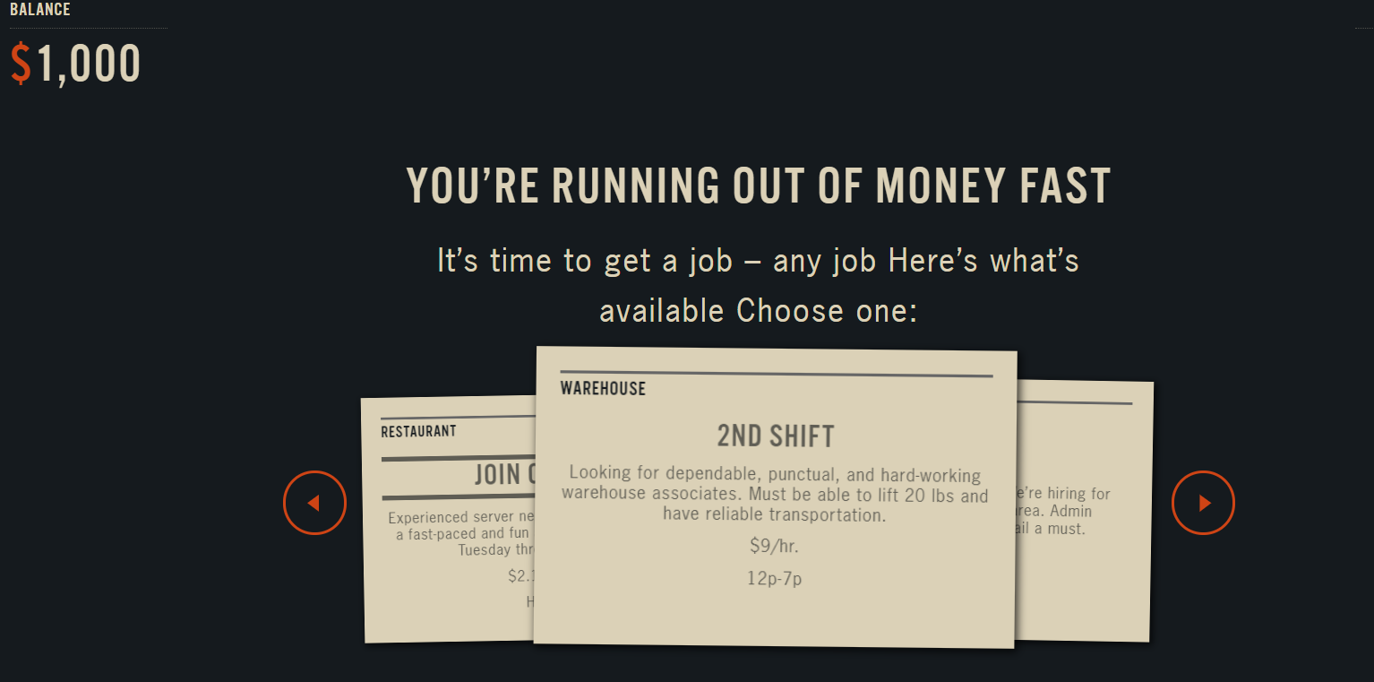 screenshot of online budgeting game for students Spent