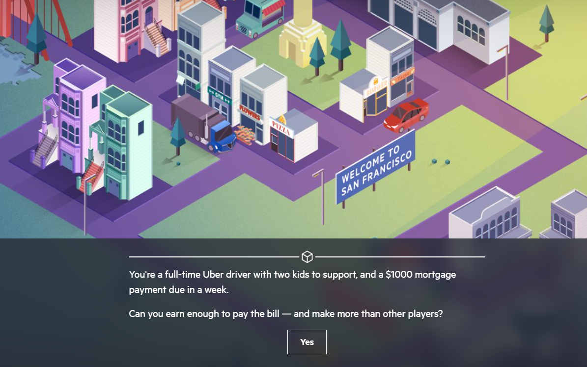 screenshot of The Uber online career game for students