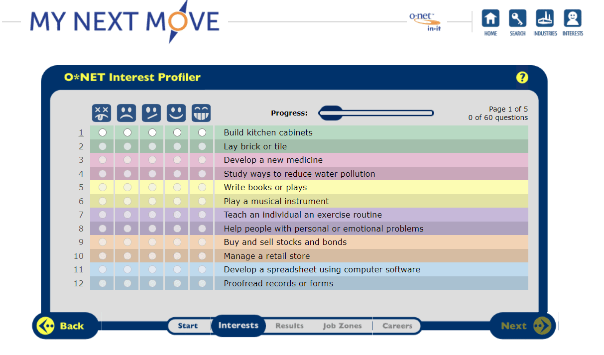 screenshot of Onet's career assessment test for students