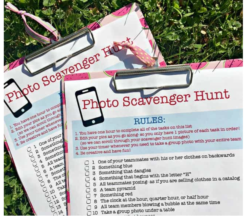 screenshot of photo scavenger hunt pre-teenager party game
