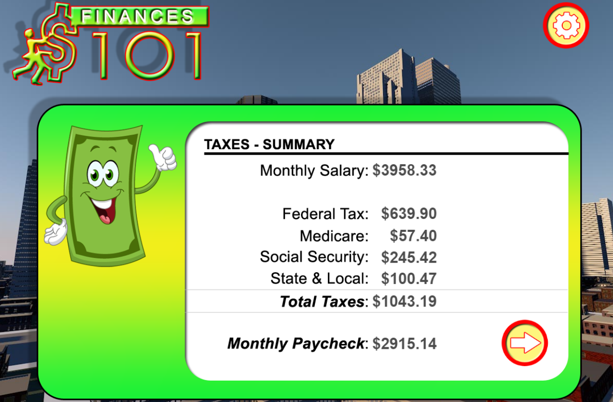 screenshot of Finance 101 personal finance literacy game for kids