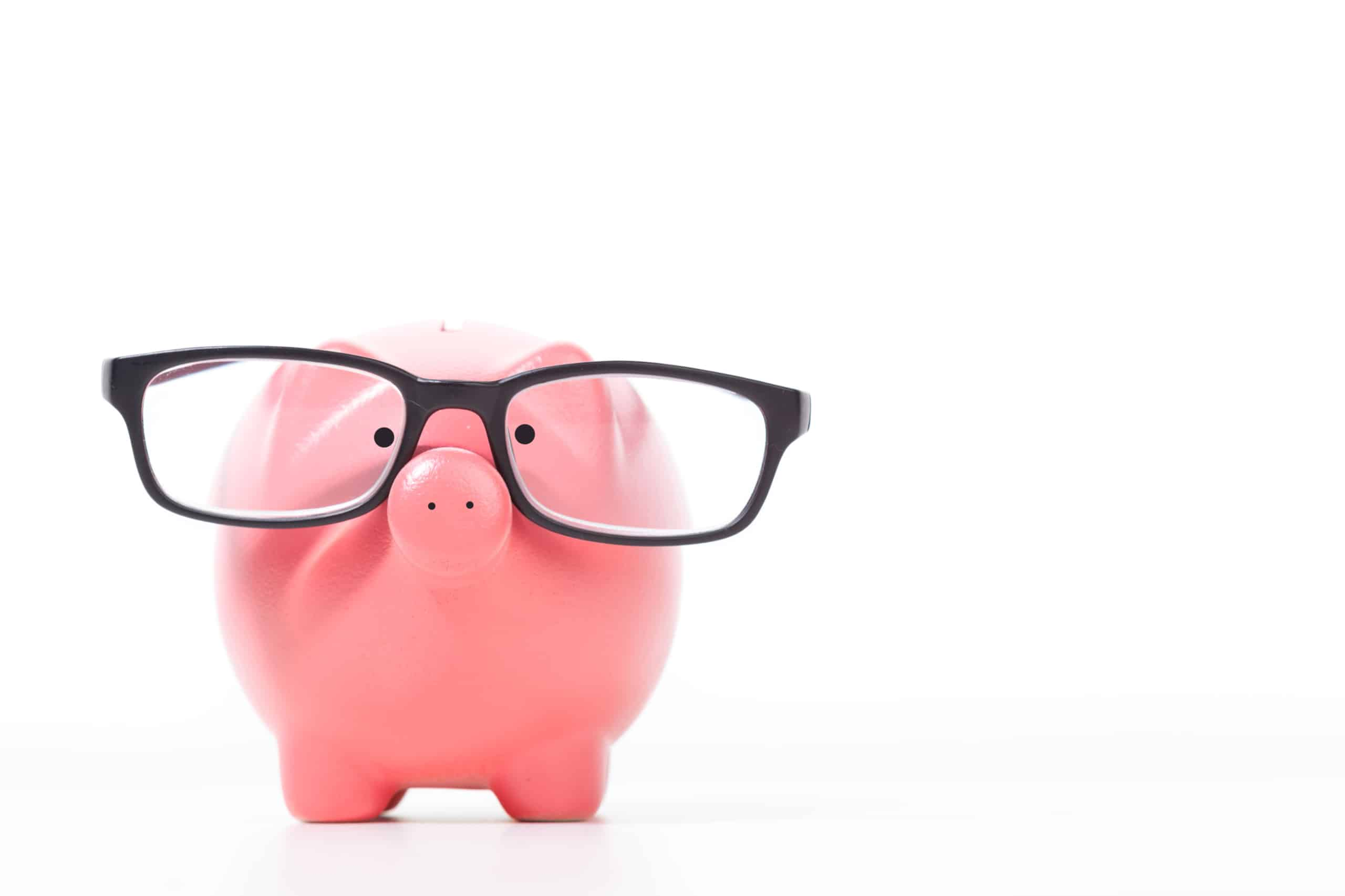 Pink piggy bank with glasses, teach kids about money
