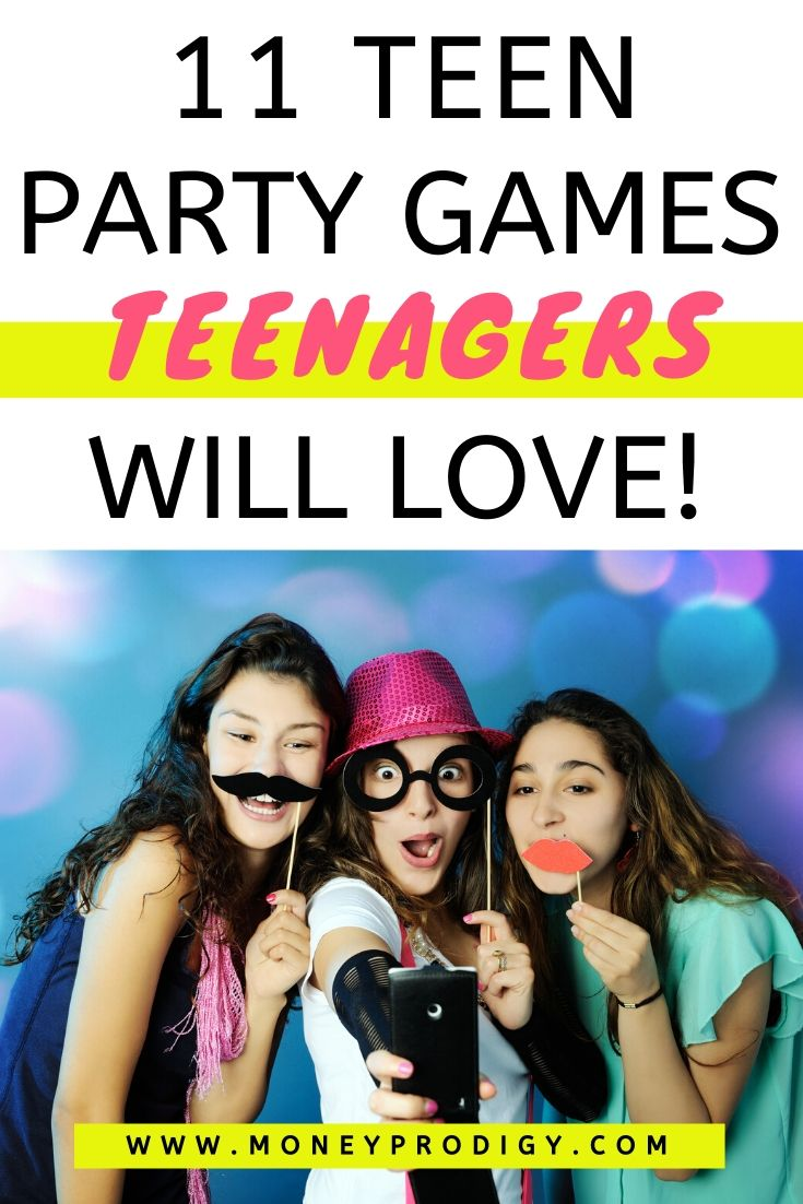 three teenager girls with mustache props, text overlay