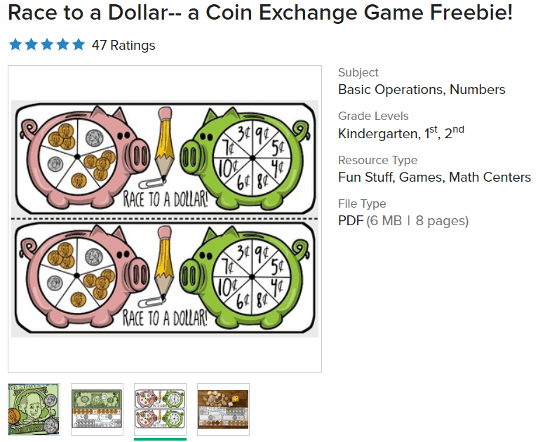 screenshot of race to a dollar free money board games printable