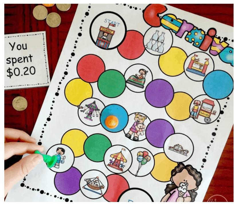 screenshot of carnival subtracting money practice money game for kids