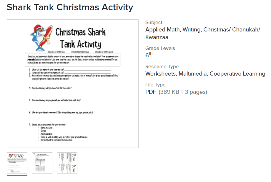 screenshot of Christmas shark tank activity worksheet PDF