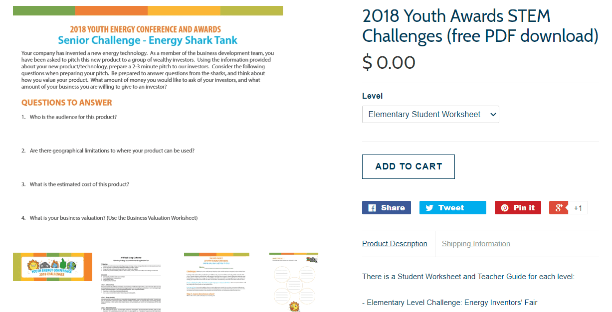 screenshot of senior challenge energy shark tank worksheet for high school students