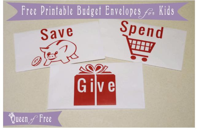 screenshot of save spend give cash envelopes for kids