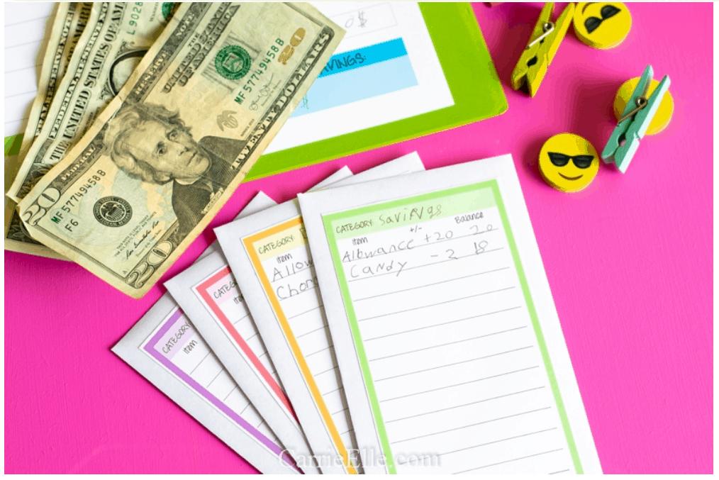 screenshot of kids money envelopes on hot pink background
