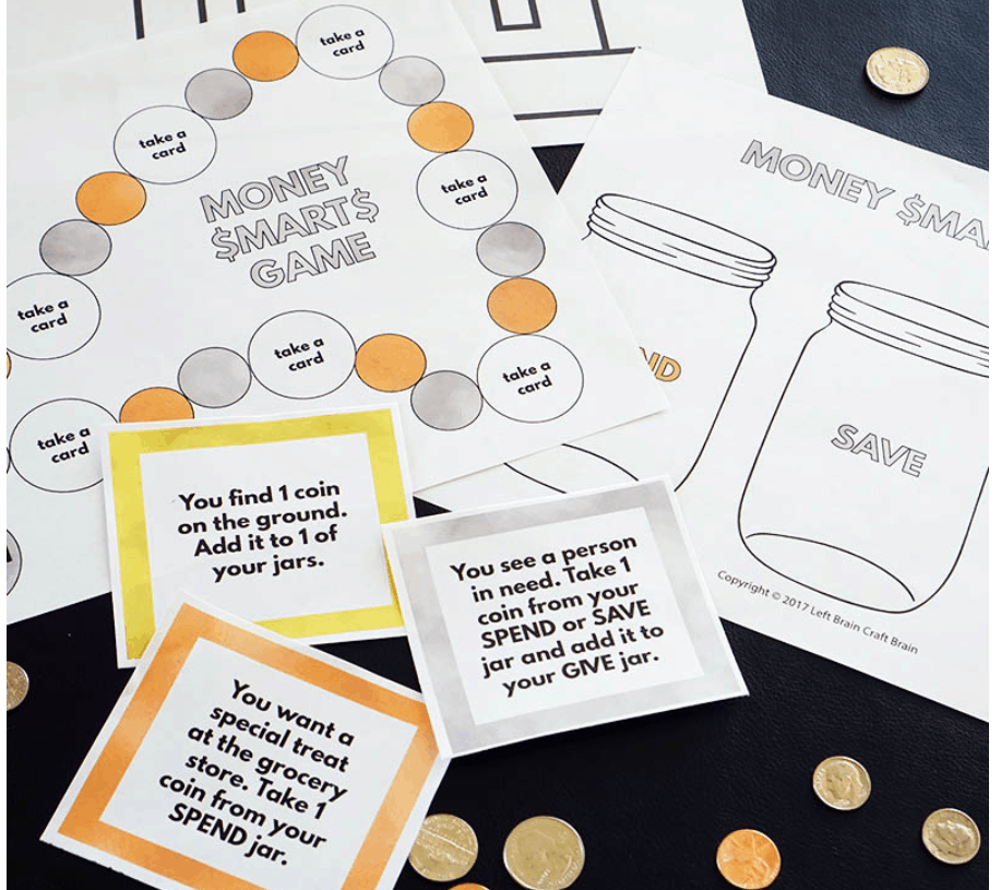 screenshot of Money Smarts Game printable money game for kids