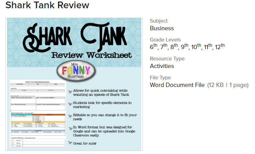 screenshot of shark tank marketing activity worksheet PDF