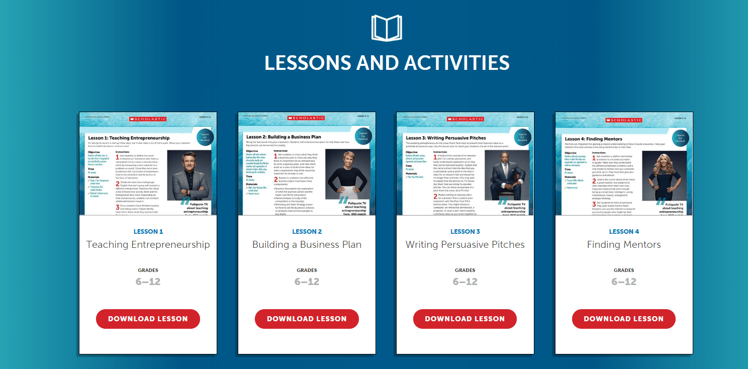 screenshot of scholastic shark tank lessons and activities