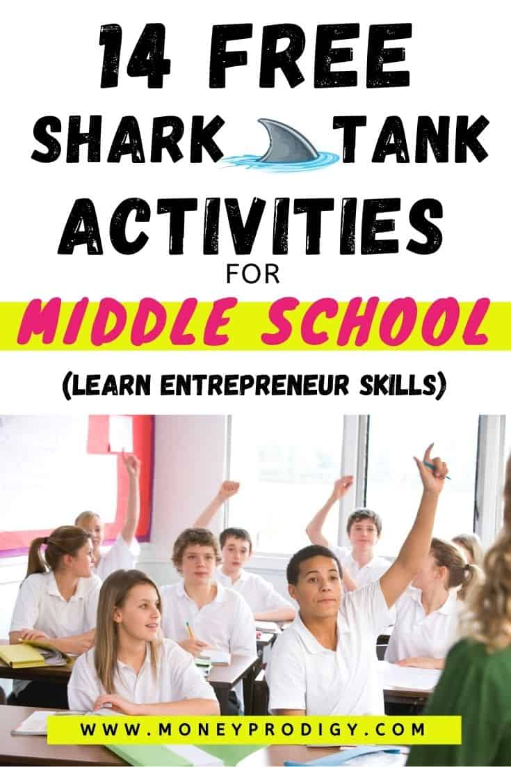 "group of students working on shark tank project, text overlay ""14 free shark tank activities for middle school"""