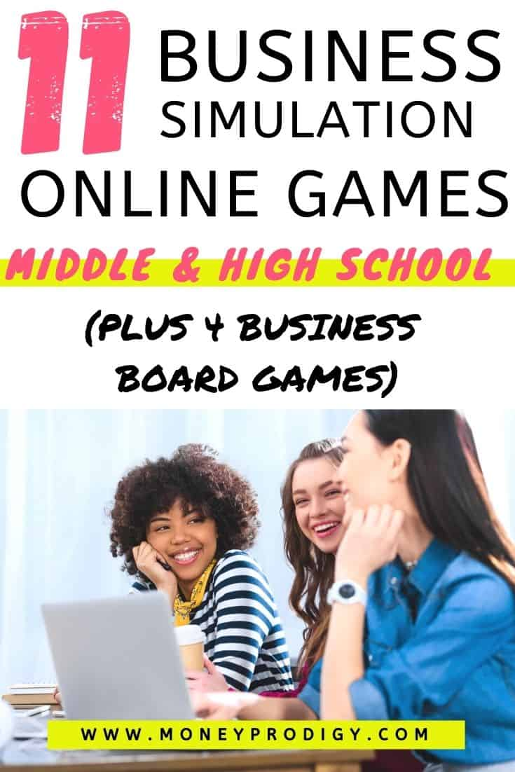 "three high school students playing business games, text overlay ""11 business simulation online games for middle school and high school students"""