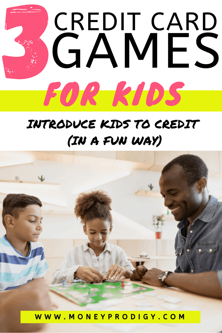 "family playing credit game to learn about credit at table, text overlay ""3 credit card games for kids to introduce kids to credit in a fun way"""
