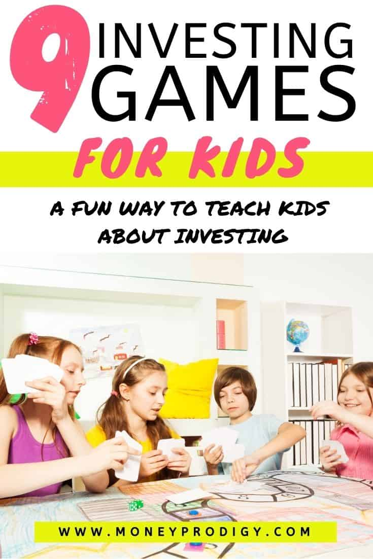 "kids playing investing board games at table, text overlay ""9 investing board games for kids - a fun way to teach kids about investing"""