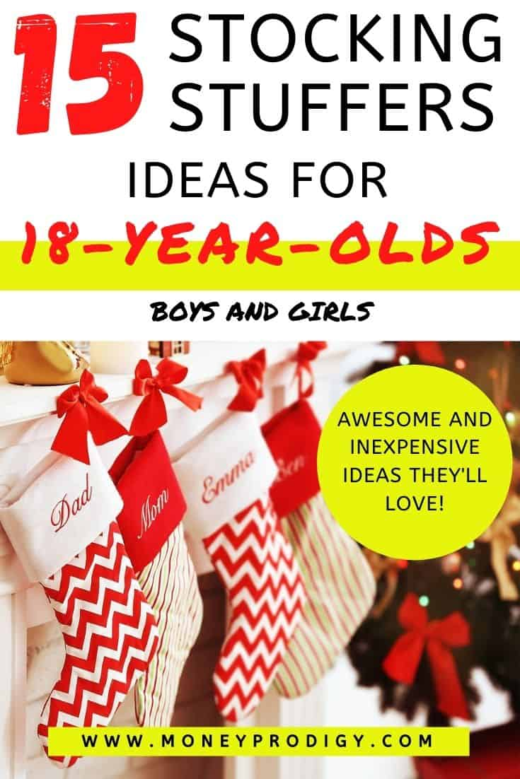 "stockings lined up on mantel, text overlay ""15 stocking stuff ideas for 18 year olds boys and girls"""