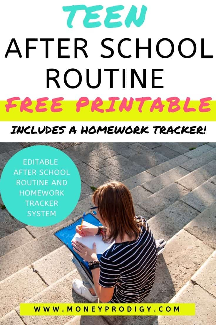 "teen girl sitting on school steps with after school routine chart and pen, text overlay ""teen after school routine free printable including homework tracker"""