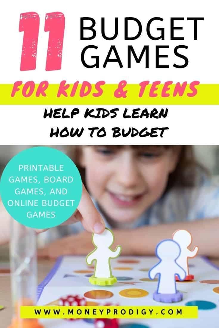 """girl child playing budget game at desk, text overlay """"11 budget games for kids and teens - help kids learn how to budget."""""""