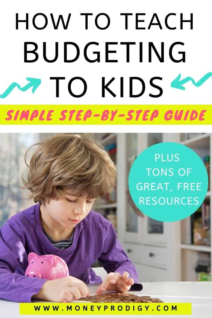 """kid boy in purple shirt counting coins with piggy bank, overlay """"how to teach budgeting for kids - simple step by step guide"""""""